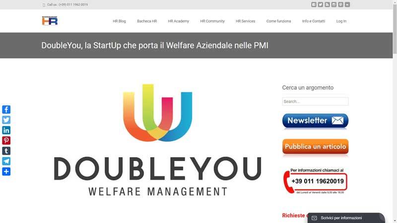HR-Risorse Umane - DoubleYou, la StartUp che porta il Welfare Aziendale nelle PMI