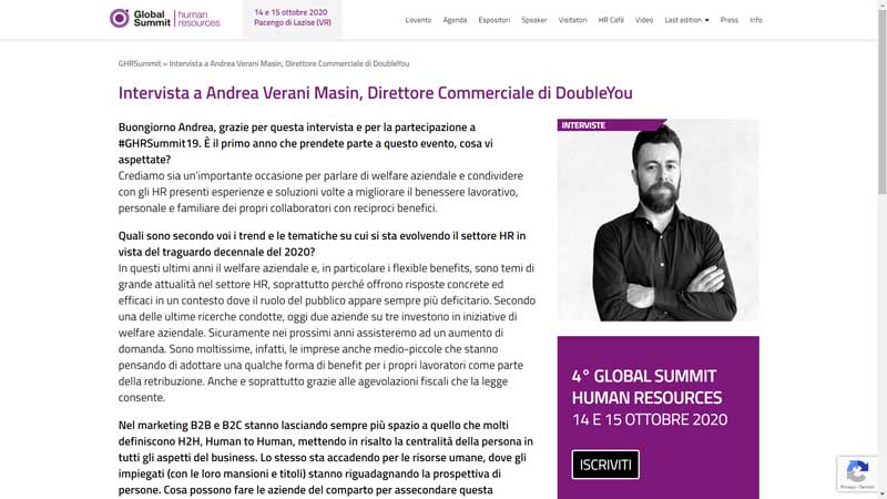 Global Summit Human Resources - Intervista a Andrea Verani Masin, Direttore Commerciale di DoubleYou