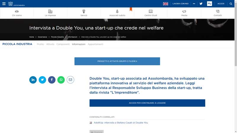 Assolombarda - Intervista a Double You, una start-up che crede nel welfare