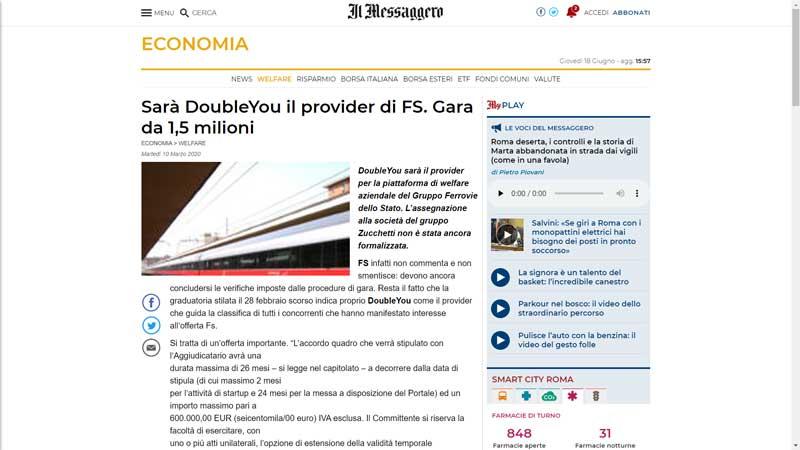 Il Messaggero - Sarà DoubleYou il provider di FS. Gara da 1,5 milioni