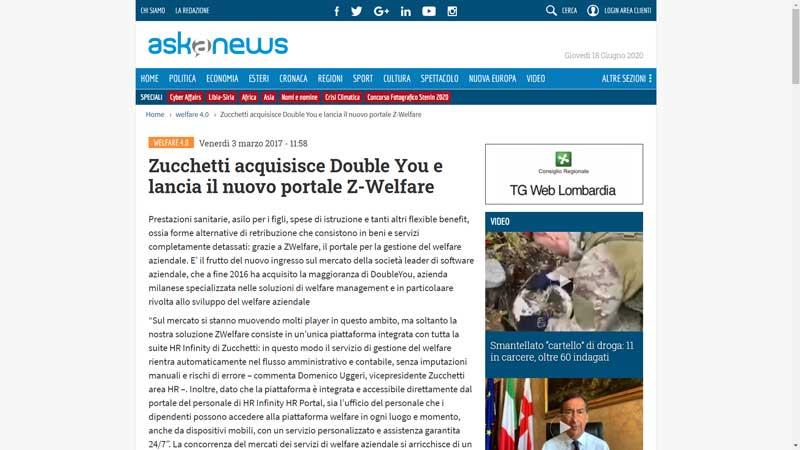 Askanews - Zucchetti acquisisce Double You e lancia il nuovo portale Z-Welfare