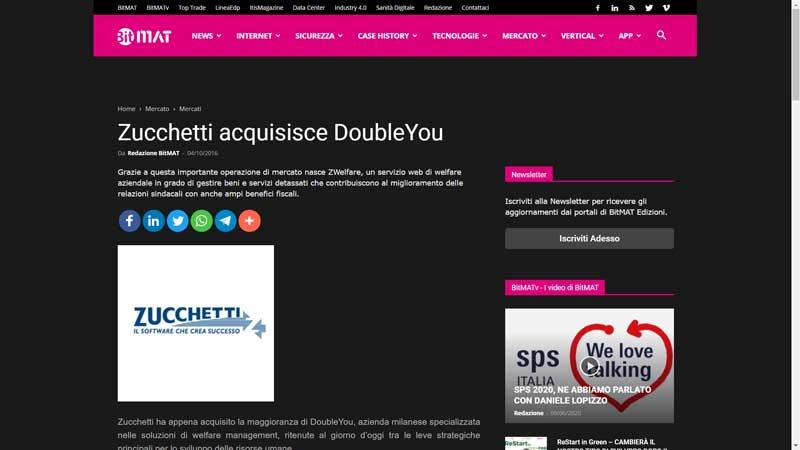 Bitmat - Zucchetti acquisisce DoubleYou