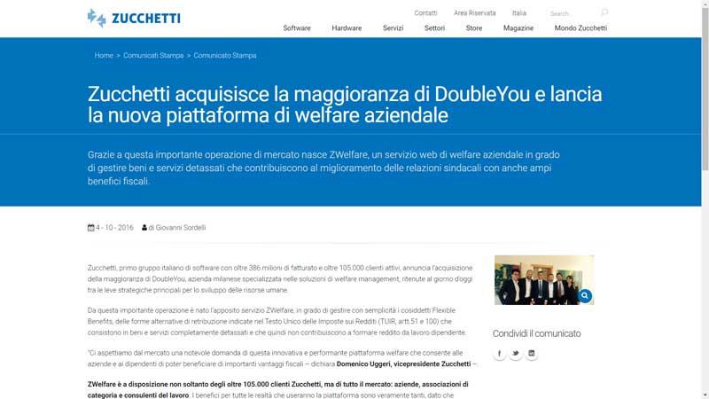 Zucchetti - Zucchetti acquisisce la maggioranza di DoubleYou e lancia la nuova piattaforma di welfare aziendale